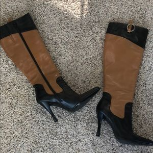 Beautiful leather heeled two tone boots
